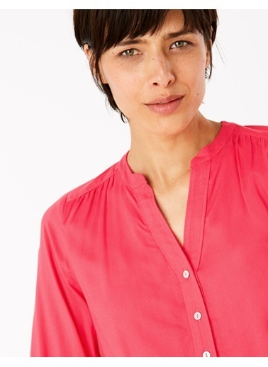 Marks & Spencer V Yaka Popover Bluz Kırmızı